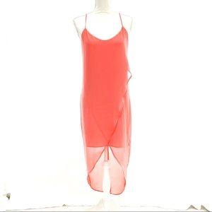 Naked Zebra Chiffon Dress - Coral - Small